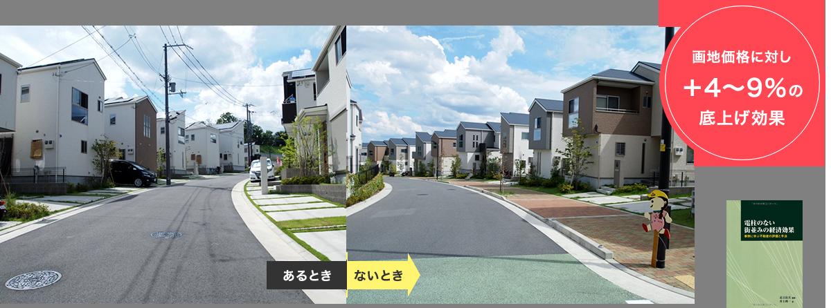 無電柱化の宅地価格アップ